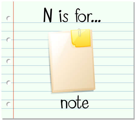 paper spell: Flashcard letter N is for note illustration
