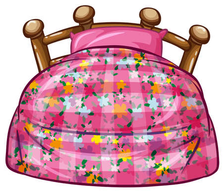 bed sheet: Bed with pink sheet and pillow illustration Illustration