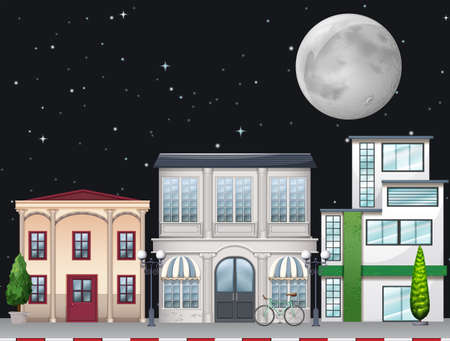 apartment building: Shops along the street at night illustration