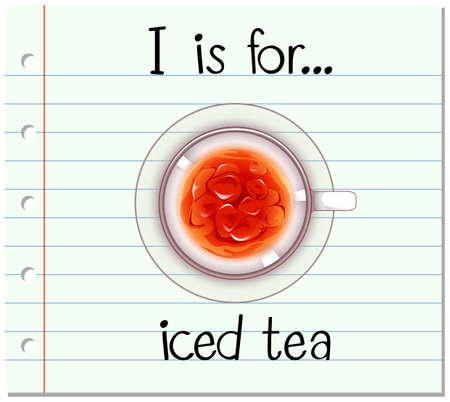 té helado: Grupos de tarjetas alfabeto I es para la ilustración de té helado Vectores