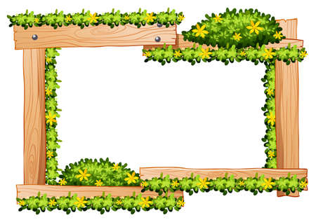 wooden frame: Wooden frame with yellow flowers around the border illustration Illustration