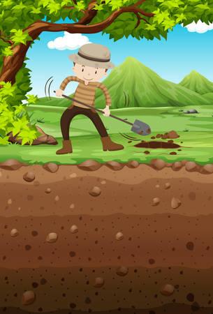 landscape gardener: Man digging hole in the park illustration