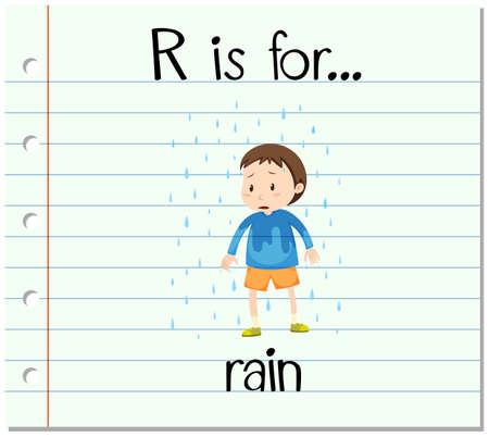 r image: Flashcard alphabet R is for rain illustration