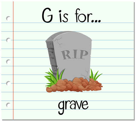 graves: Flashcard alphabet G is for grave illustration