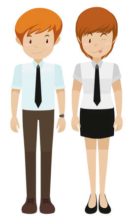 woman standing: Man and woman standing illustration