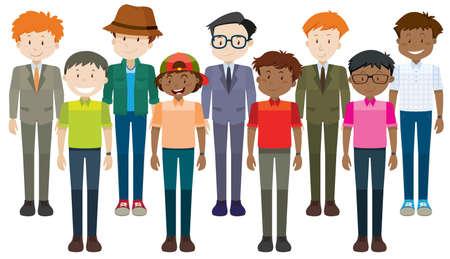 grown up: Middle aged men standing illustration