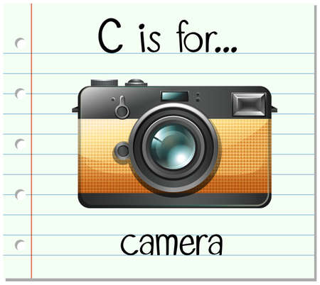 spells: Flashcard letter C is for camera illustration