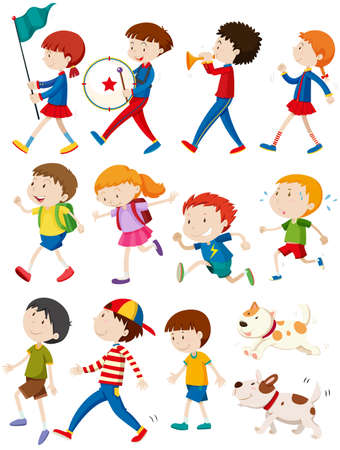 marching band: Boys and girls in many actions illustration Illustration