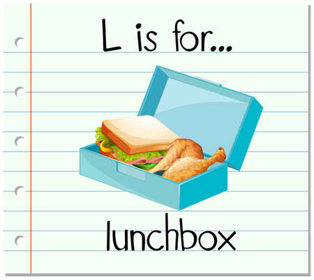 lunch box: Flashcard letter L is for lunchbox illustration