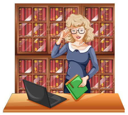Mujer con gafas en la biblioteca de la ilustración