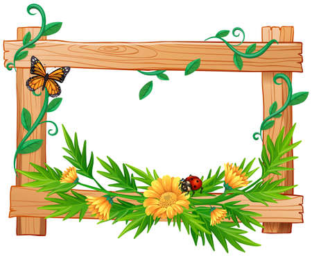 Wooden frame with flowers and insects illustration
