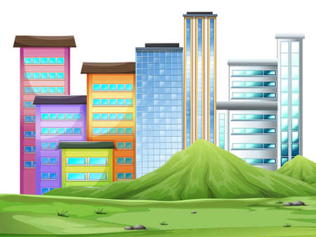 urban area: Buildings in the town illustration