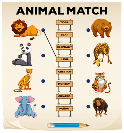 matching: Animal matching with pictures and words illustration