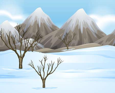 snow field: Nature scene with snow on the ground illustration Illustration