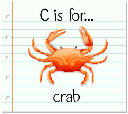 phonetics: Flashcard letter C is for crab illustration