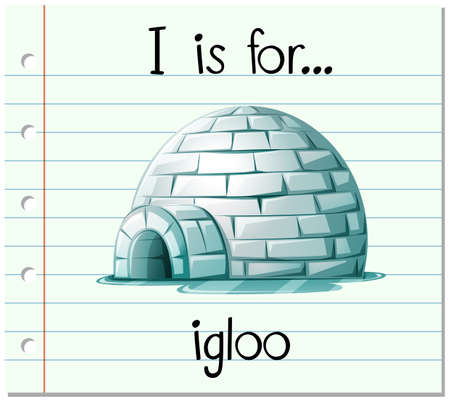 igloo: Flashcard alphabet I is for igloo illustration