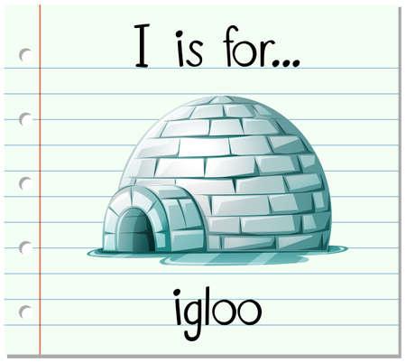 Flashkaart alfabet I is voor iglo illustratie