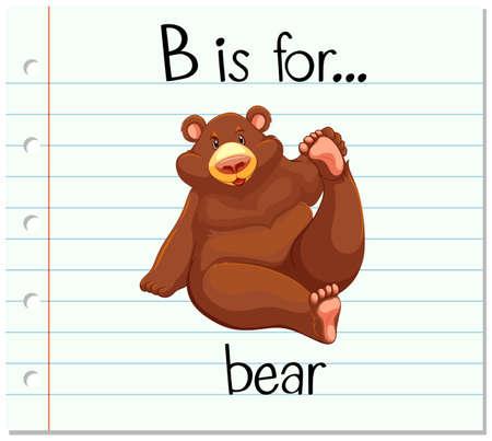 flashes: Flashcard letter B is for bear illustration Illustration