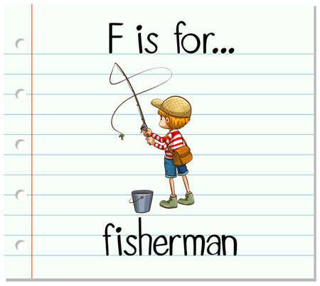 fishing pole: Flashcard alphabet F is for fisherman illustration Illustration