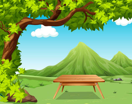 picnic table: Nature scene with picnic table in the park illustration