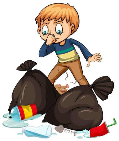 basura: Hombre y bolsas de basura maloliente ilustración Vectores
