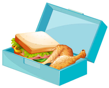 Lunch box with sandwiches and fried chicken illustration Vectores