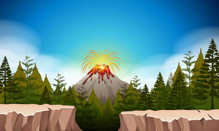 mountain landscape: Nature scene with volcano eruption illustration Illustration