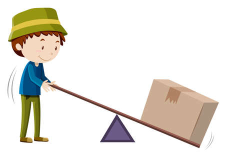 box weight: Boy lifting box with tool illustration Illustration