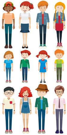 standing man: Men and women standing illustration Illustration