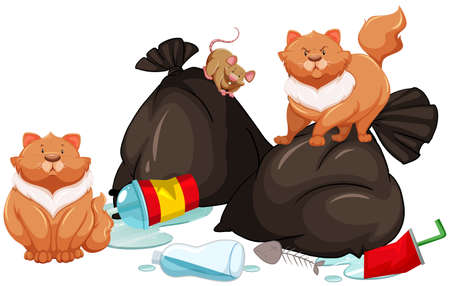 garbage bag: Trashbags with rat and cats illustration Illustration