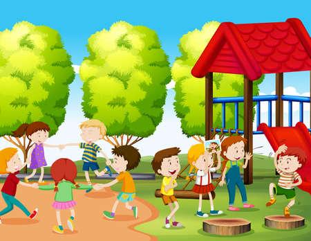 girotondo bambini: I bambini divertirsi nel parco illustrazione Vettoriali