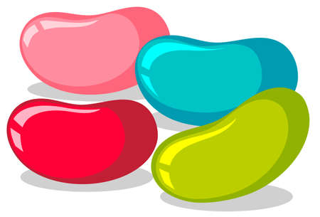 white beans: Jelly beans in four colors illustration Illustration