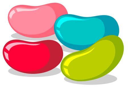 Jelly beans in vier kleuren illustratie Stock Illustratie