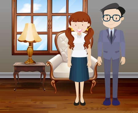livingroom: Man and woman in the room illustration