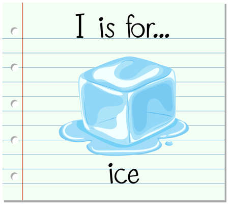 phonetics: Flashcard letter I is for ice illustration