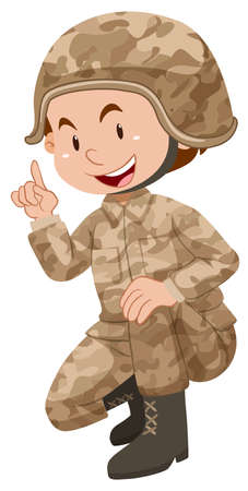 Soldier in brown uniform illustration Vetores