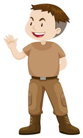 grownup: Soldier in casual uniform illustration Illustration