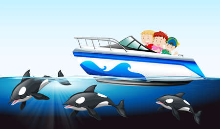 whale underwater: Children on boat and whale underwater illustration