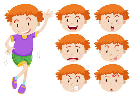 Boy and facial expressions illustration