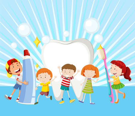 healthy kid: Children and clean tooth illustration