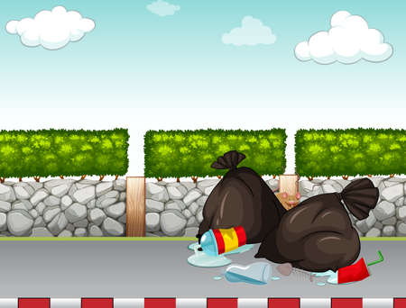 pavement: Garbage bags on the pavement illustration