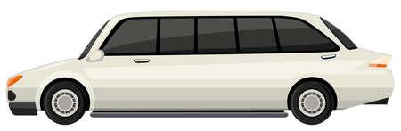 limousine: White limousine on white background illustration Illustration