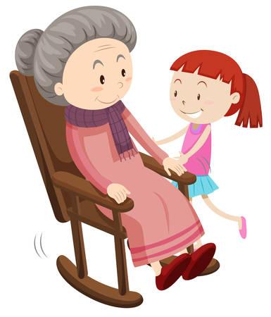 pensionado: Abuela en la silla mecedora y una niña ilustración