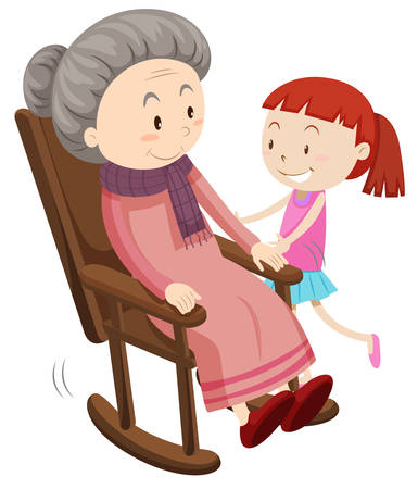 grandaughter: Grandmother on the rocking chair and girl illustration Illustration