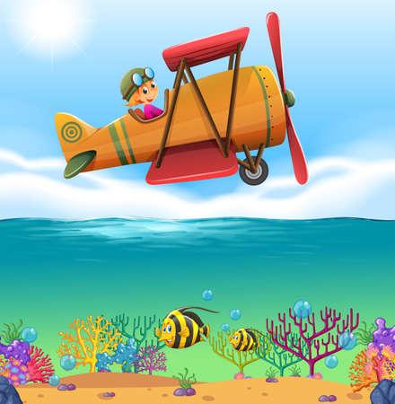 pilotos aviadores: Chica avión que vuela sobre el océano ilustración Vectores