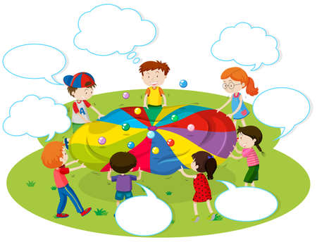 color balls: Children playing color balls in the park illustration Illustration