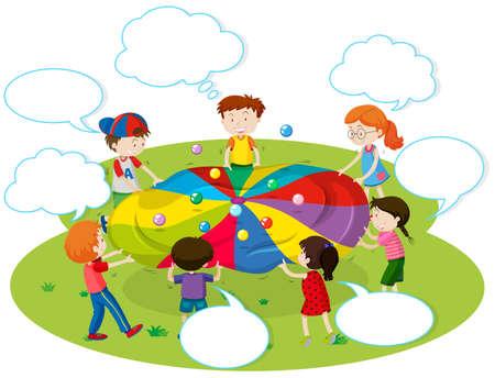 color balls: Children playing color balls in the park illustration Illustration