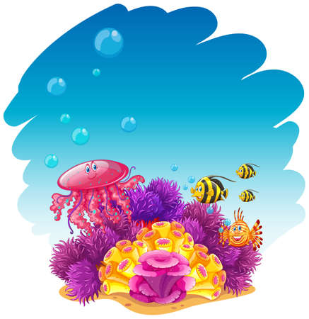 underwater scene: Underwater scene with jellyfish and corals illustration