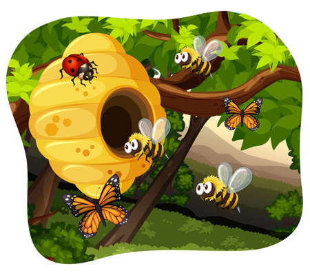 bugs: Bees and bugs in the tree illustration