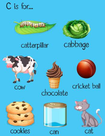 verb: Different words for letter C illustration